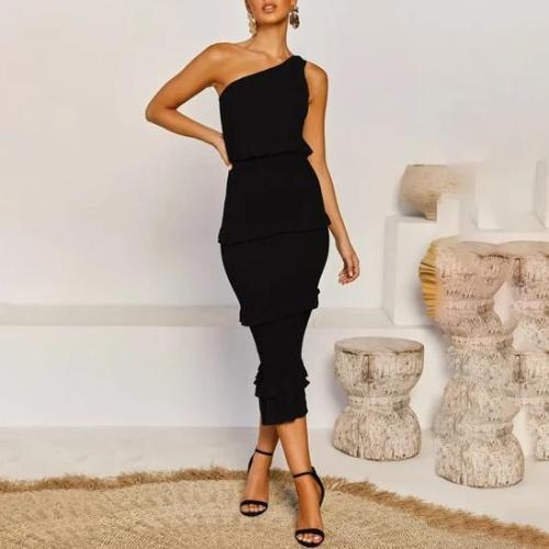 Sexy Pure Color One Shoulder Dress