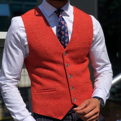 Flashmay Brief Pure Color Single Breasted Vest