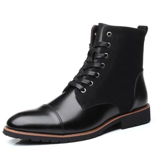 New Fashion Men Leather Shoes Waterproof Men Boots Comfortable Short Plush Black Winter Boots Quality Ankle Boots Business Men