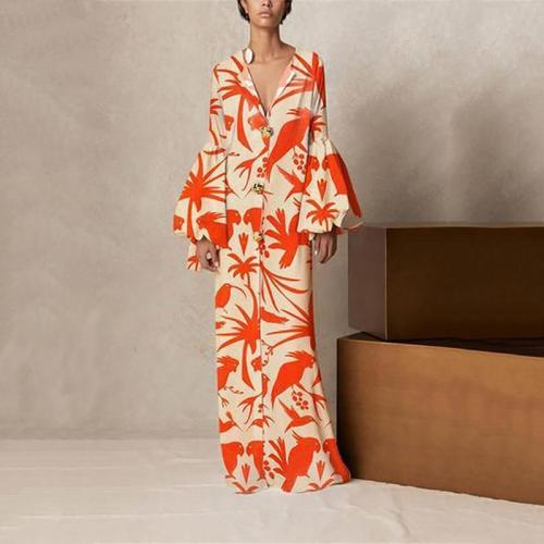 V Collar Long-Sleeved Printing Loose Casual Maxi Dress Evening Dress