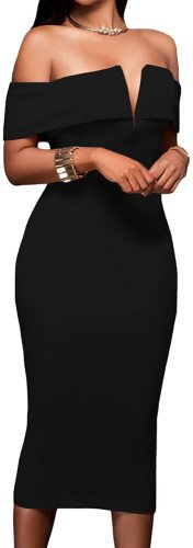 AlvaQ Women's Sexy V Neck Off The Shoulder Evening Bodycon Club Midi Dress