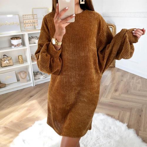 Women's Fashion Round Neck Loose Knit Dress