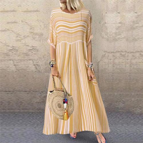 Casual Striped Short-Sleeved Round Neck Pocket Dress