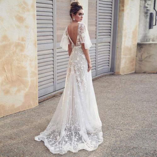 fashion elegant evening gown Formal Long Evening Dress Lace v-neck white Vestidos Women Party Gown abiye gece elbisesi