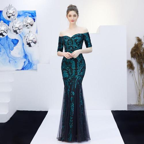 One word collar Sequined evening Gown Mermaid Mesh Evening Dress  Women Party elegant evening Dresses  Robe De Soiree