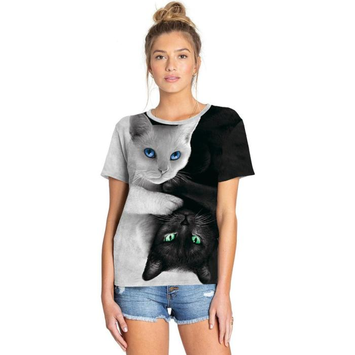 3D Cat Printed Funny Men T-shirt Fashion Casual Novelty Short Sleeve Tees Top