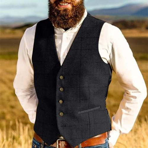 England Style Pure Color V Neck Men Vest