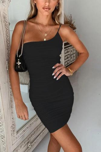 Sexy one shoulder halter bodycorn dress