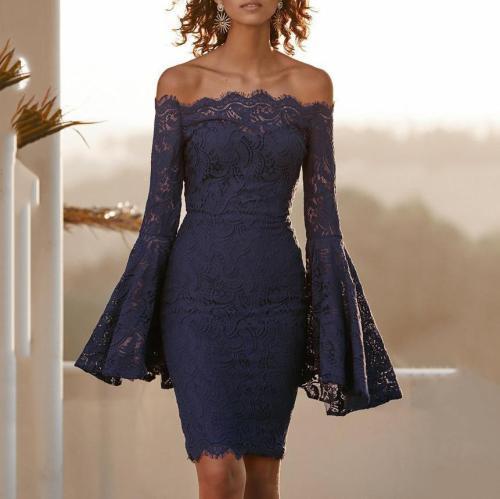 Elegant Chic Slim Lace Off Shoulder Flare Long Sleeve Bodycon Evening Dress