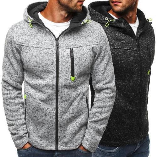 Fashion Youth Casual Plain Zipper Long Sleeve Men Outerwear