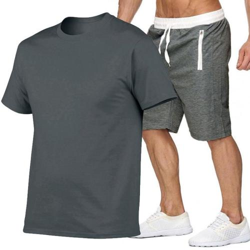 Summer men's hot sports casual fashion suit men's casual sports shorts + sports casual fashion trend short-sleeved T-shirt