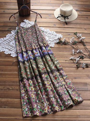 Vintage Bohemian Print Floral Spaghetti Straps Maxi Dress