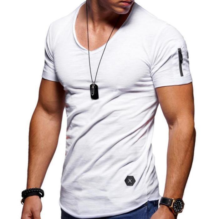 Mens Zipper Design Breathable Solid Color O-neck Short Sleeve T-Shirts