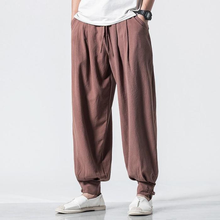 Vintage Casual Pure Colour Cotton Linen Lantern Pants