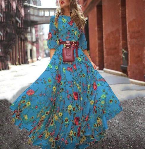 Print Dresses With Big Swing Half Sleeve Round Neck Temperament Fashion Print Chiffon Vacation Dresses