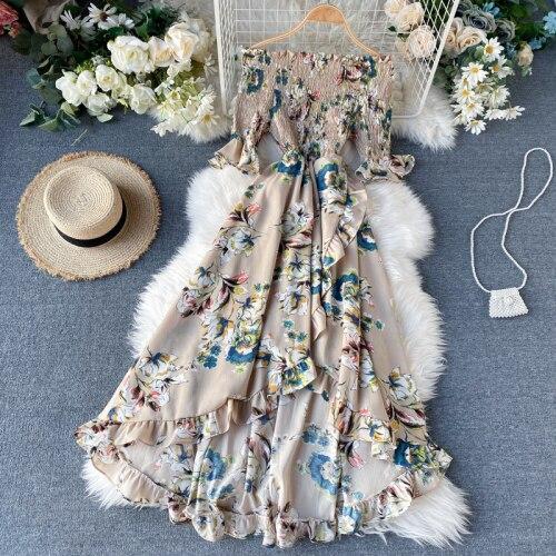 JOYMANMALL Pring Floral Women Dress Short Sleeve Sexy Off Shoulder 2020 Summer Dresses Beach Style Irregular Long Vestidos 13768