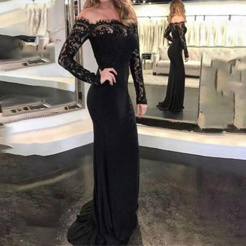 Sexy Lace One Shouider Long Sleeve Evening Dress