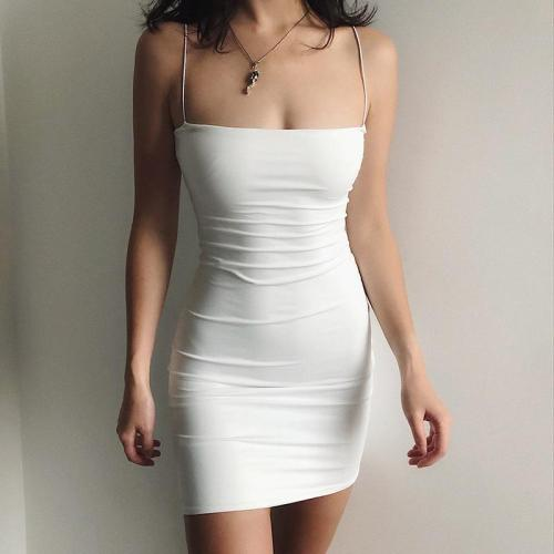 White Sexy Dress Women Spaghetti Strap Dresses Female High Waist Club Dress Short Summer 2020 Mini Sleeveless Vestidos