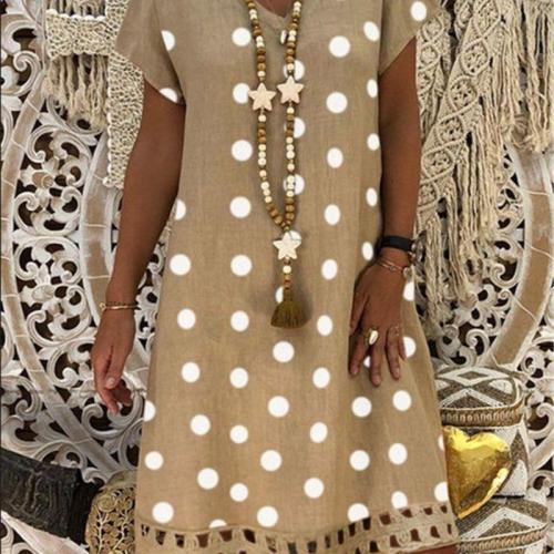 Plus size casual ladies dress 2020 summer women dress fashion hot sale short sleeve V-neck dot print mid-length dress new