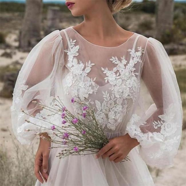 Round Neck Puff Sleeve Mesh Embroidered Dress