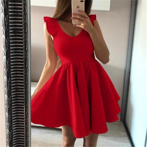 Pure Color V Neck Ruffled Sleeve Dress