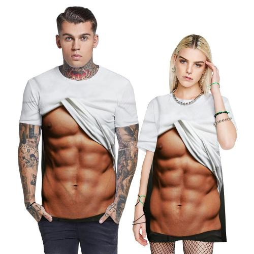 3D Muscle Funny Men T-shirt Loose Casual Novelty Short Sleeve Tees Top