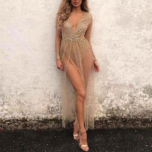 Deep V Perspective Open  Lace  Sexy Evening Dress