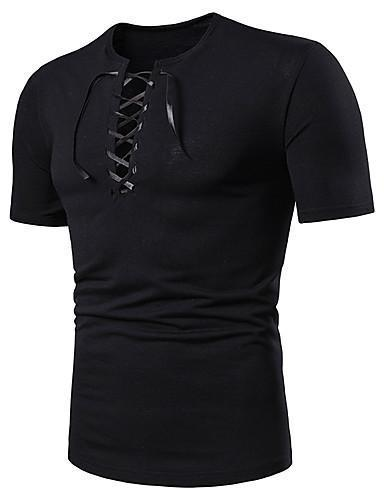 Men Solid Colored Lace Up V Neck T Shirt