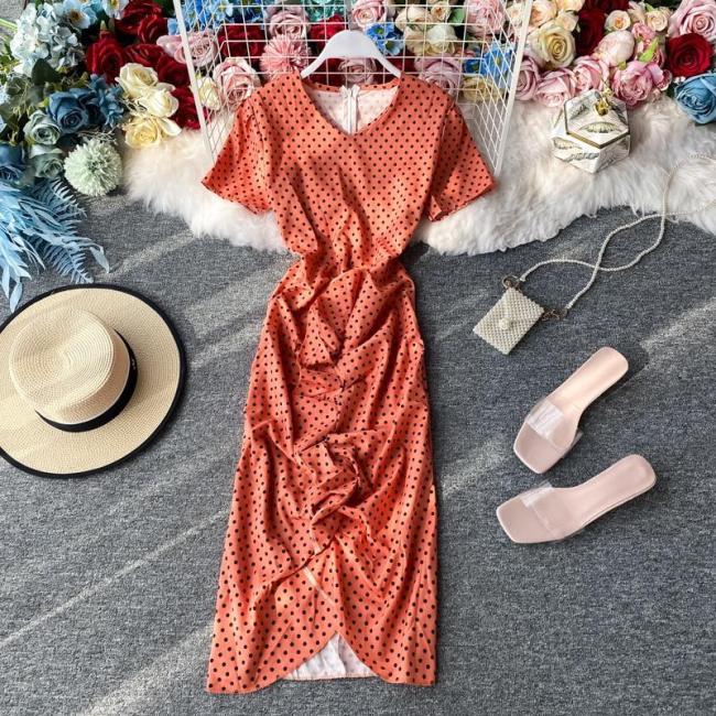 JOYMANMALL Women Summer Irregular Midi Dress Retro Sexy V Neck Polka Dot Chiffon Dress Korean Fashion Streetwear Ruched Dress