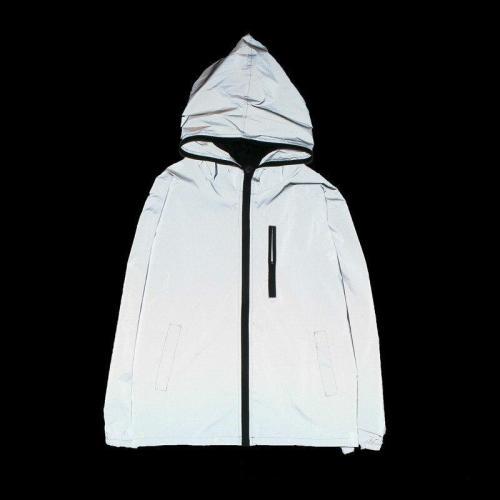women hip hop windbreaker Waterproof hooded women Reflect Jacket hooded coat fluorescent Sweatshirts light 3M Reflective Jackets
