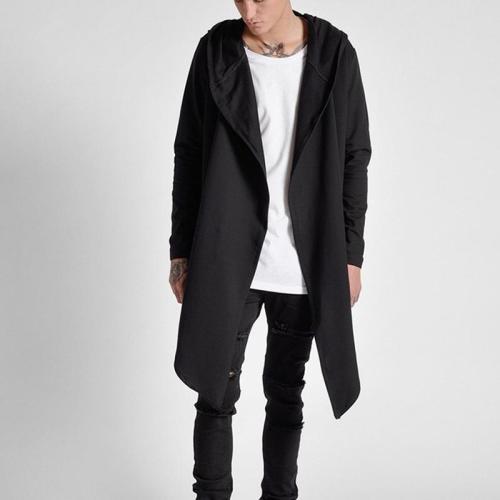 Street sweater front long short men's casual hooded windbreaker