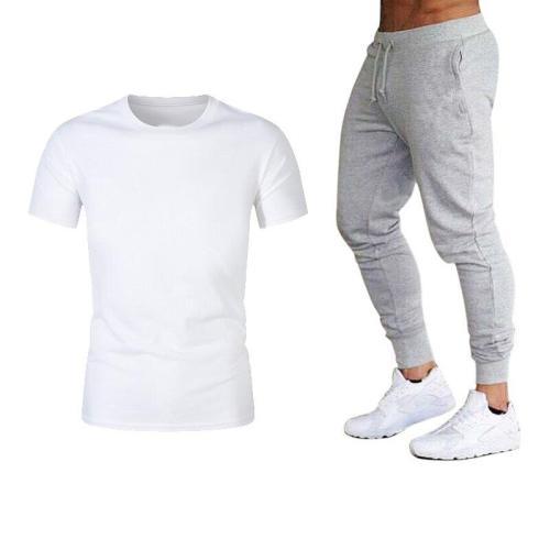 Trendy Men's Suit Men's 2 Piece Sports Suit Short Sleeve Summer Casual Casual Short Thin Suit Suit High Quality Hot