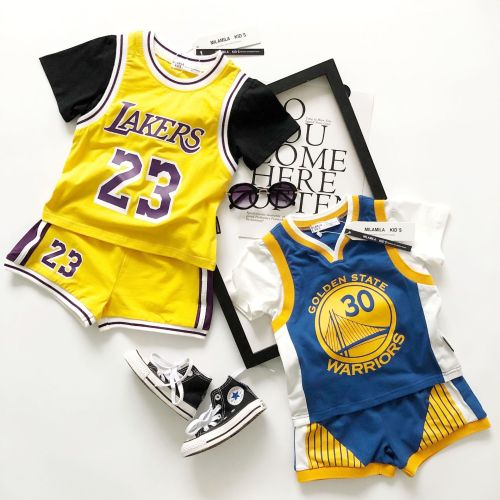 Tonytaobaby Summer New Cute Boys and Girls Basketball Cotton Sports Suit
