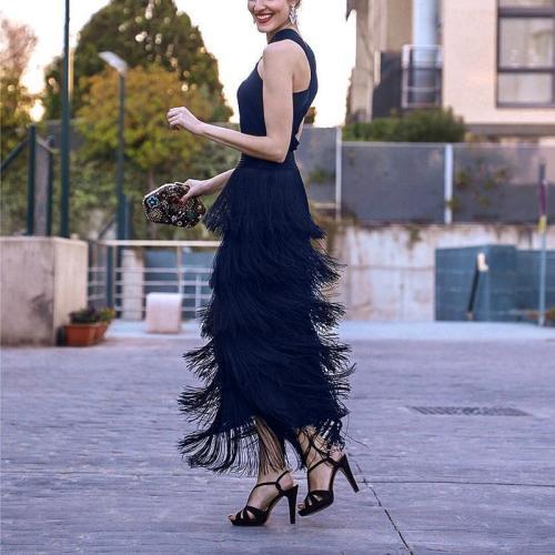 Casual Sexy Sleeveless Slim Tassels Hemline Maxi Dresses Evening Dress