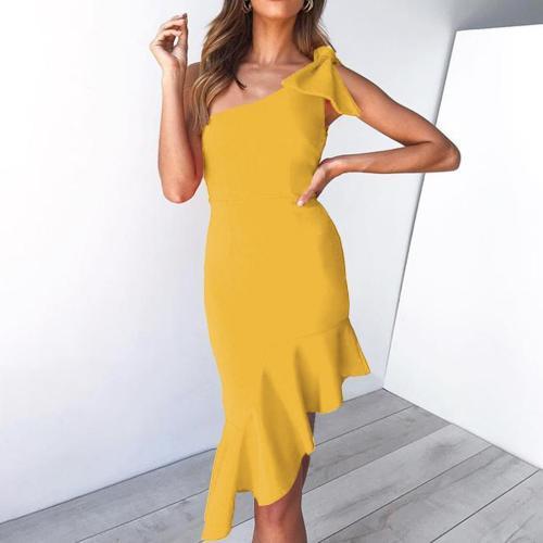 Sleeve Deep V Ruffled Fishtail Slim Dress