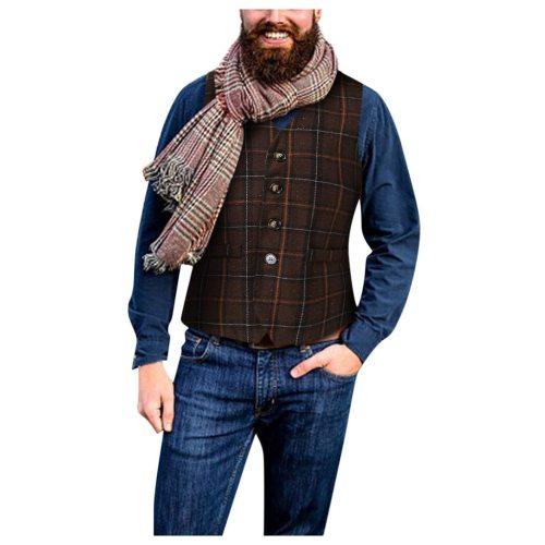 Men's Classic Formal Business Vest Explosion Models Men's Vintage Fashion Casual Lattice Single-Breasted Versatile Chaleco#G2