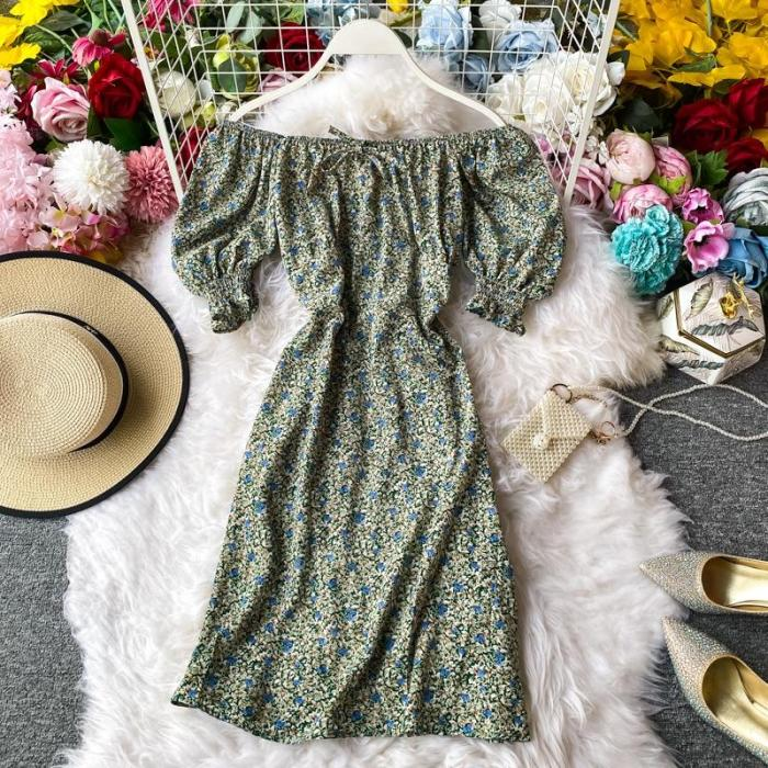 JOYMANMALL Women Summer Retro Floral Short Dress Fashion Sweet Puff Sleeve Slash Neck Dress Sexy Off Shoulder Boho Print Dress
