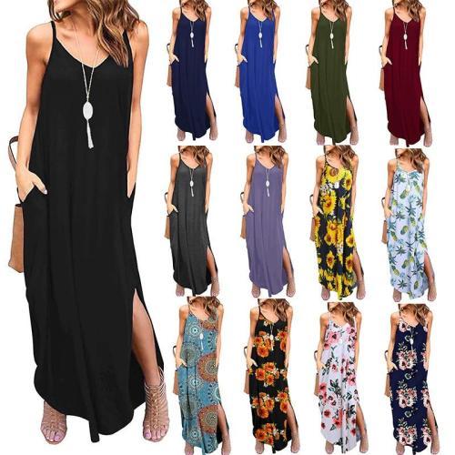 18 Colors Women Casual Spaghetti Strap Dress Summer V neck Pocket Sling Party Maxi Dress Floral Printed Loose Elegant Sundress