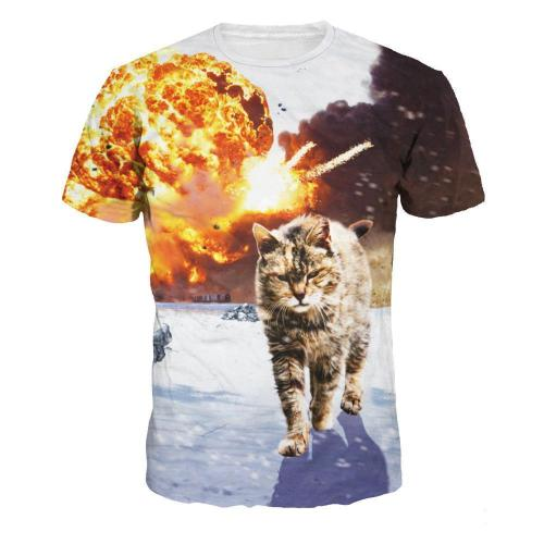 3D Explosion Cat Printed Casual Short Sleeve T-shirt
