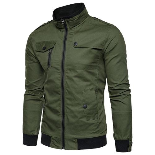 Men's Solid Color Epaulet Design Pockets Zip Up Cargo Jacket