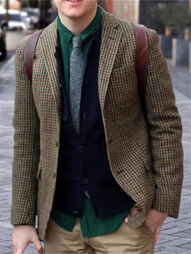 Men's Classic Business Plaid Blazer