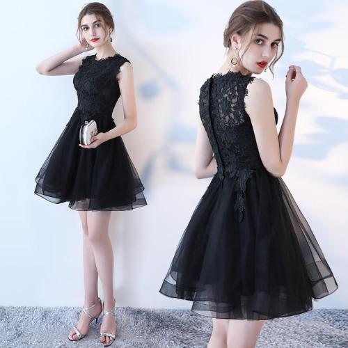 Women's evening dress off shoulder lace short prom dress solid color red white green sleeveless formal dress ceremony dress