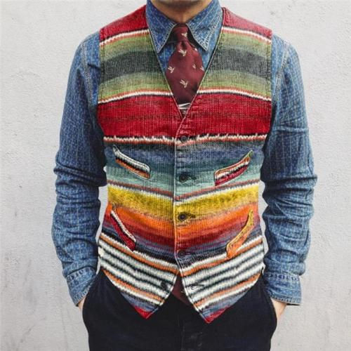 Flashmay Casual striped colorblock single-breasted men's vest