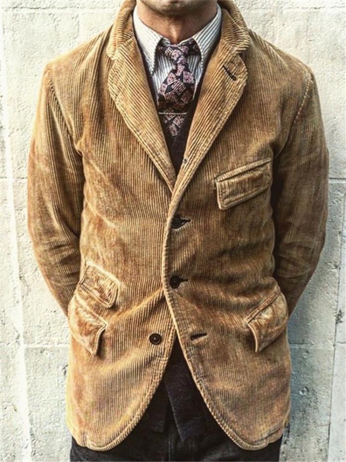 Lapel Corduroy Solid Color Coat