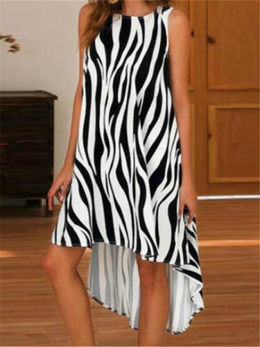 Fashion Sleeveless Irregular Printing Casual Dresses