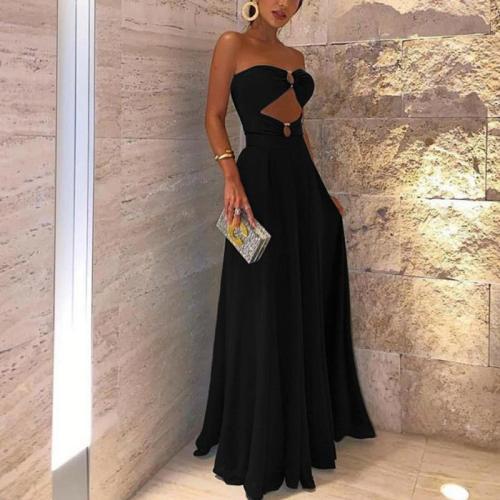 Sexy Sleeveless Bare Back Off-Shoulder Splicing Dress