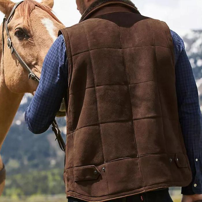 Vintage plush lapel solid color zipper men's vest