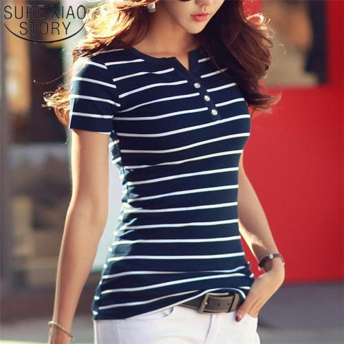 2020 Summer Top Shirts V-neck T Shirt Women Short Sleeve Casual tshirts White Strip T-Shirt Plus Size Cotton Tee Shirt  3188 50
