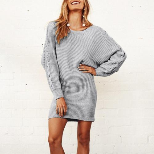 Casual Round Neck Bishop Sleeve Knitted Dress