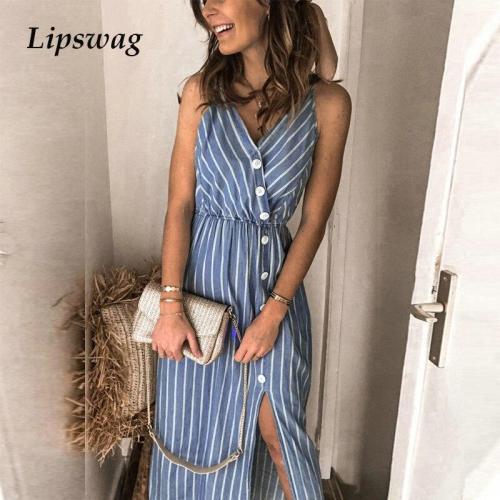 Elegant Striped Split Maxi Dress Casual Summer Sleeveless Straps Beach Party Dress 2020 Sexy V Neck Backless Long Dress Vestidos